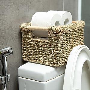 Wicker basket for toilet paper