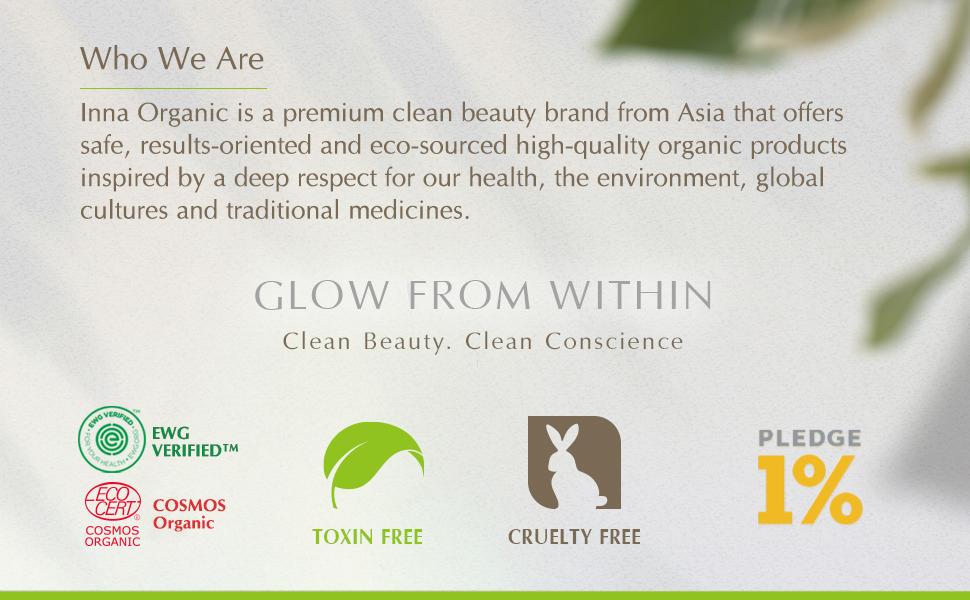 Inna Organic clean beauty green COSMOS EWG verified sensitive skin essential oil Taiwan cleanser