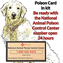 Pet first aid kit emergency poison control card