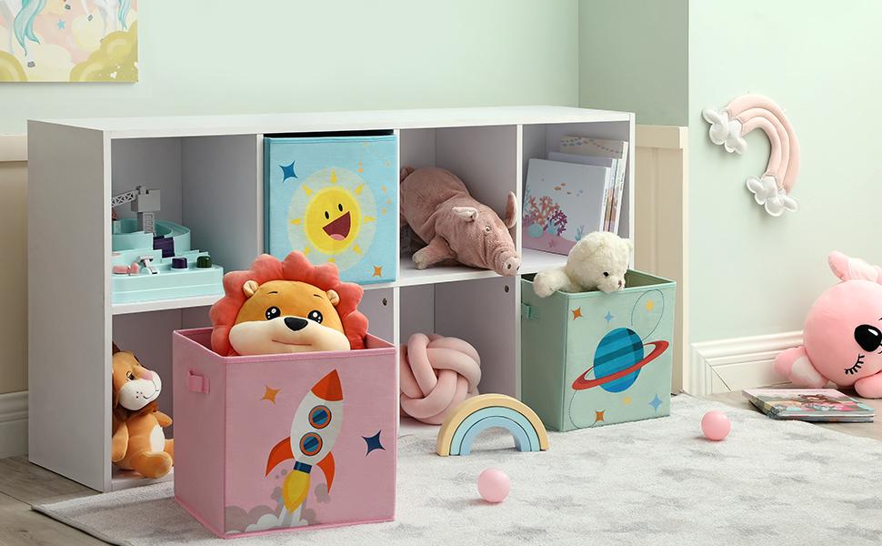 SONGMICS/Aufbewahrungsboxen f/ür Kinderzimmer Spielzimmer Stoffboxen Spielzeug-Organizer 3er Set mit 2 Griffen faltbar Schlafzimmer,/30 x 30 x 30 cm,/rosa RFB001P03
