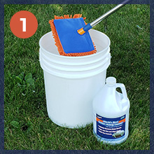 dip and wipe cleaning gutters siding bucket microfiber