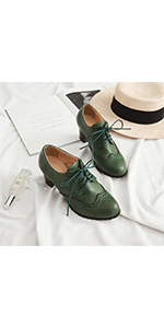green stack heel single shoes