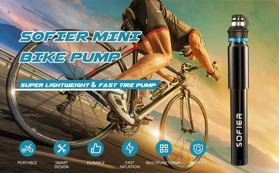 sofier mini bike pump portable air pump bike tire inflator