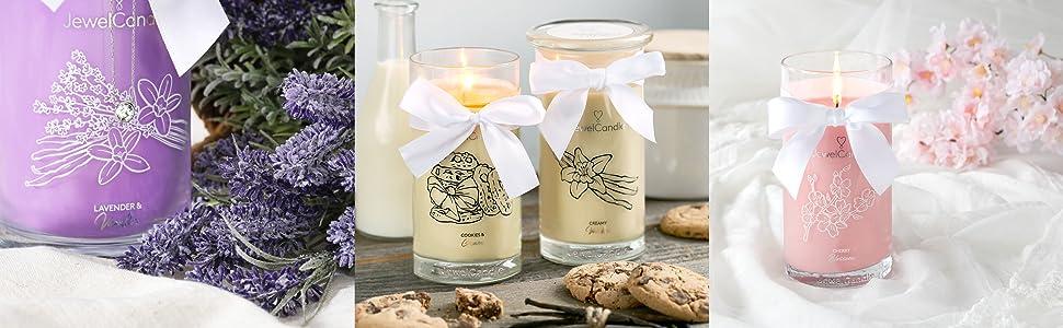 Jewelcandle bougie parfumée cire vanille lavande rose agrume noix_de_coco eté fraîcheur fruit jasmin