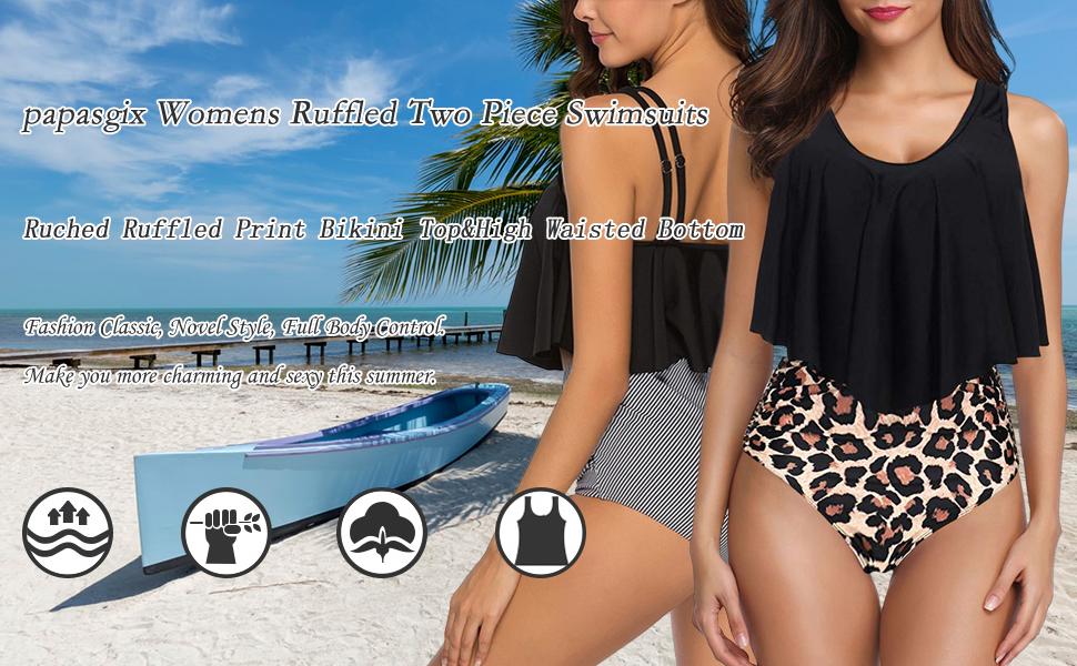 American Trends Women/'s Two Piece Retro Pattern Swimsuit Plus Size Bathing Suit Tummy Control Tankini with Boyshort Swimwear