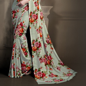 Georgette Chiffon Floral Saree Wedding Party