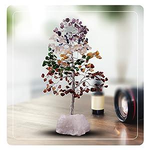 seven chakra crocon crystal tree money luck home kitchen office decor gemstone wire tree gift
