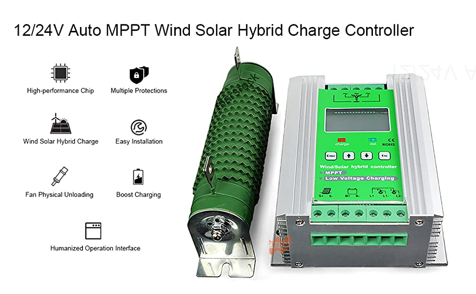 LCD 800W Wind 400 Solar  Charge Controller MPPT Boost Charge 12//24V Auto