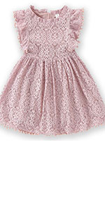 Toddler Girls Elegant Lace Pom Pom Party Princess Dress