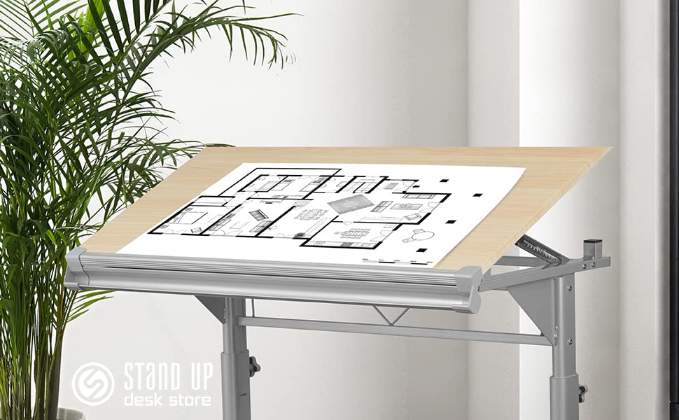 Stand Up Desk Store Manual height adjustable drawing drafting table ergonomic work space office