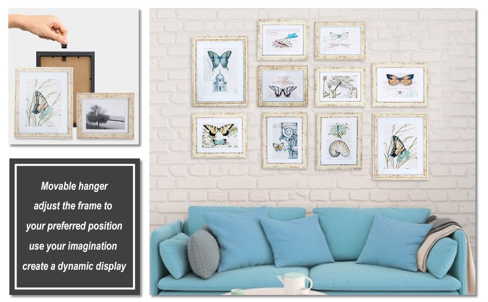 10 PCS White Photo Frame Wall Hanging