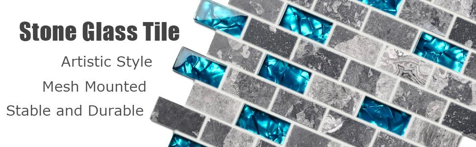 Ocean Teal Blue Glass Nature Stone Tile Kitchen Backsplash