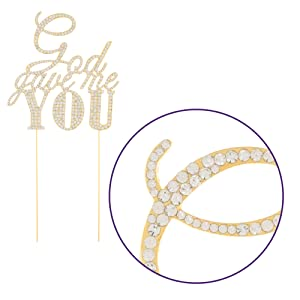 sparkle and shine god gave me you gold cake topper
