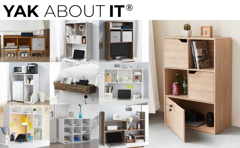 Dorm college white wooden storage shelf kitchen bedroom nightstand