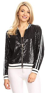 ANNA-KACI Womens Shiny Sequin Long Sleeve Cropped Blazer