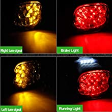 Harley Smoked LED Tail Light Brake Turn Signal Lights Lay down Taillights Low profile license plate