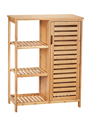 Amazon.com: VIAGDO Bathroom Storage Cabinets With Doors And 3 Side Shelves, Bamboo Floor Cabinet Utility Storage Shelves For Living Room, Bedroom, Hallway, Kitchen, Free Standing Storage Cabinet Furniture: Kitchen & Dining