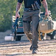 Cargo Pants Men: Sits at waist / loose fit / Left slant decoration zipper/