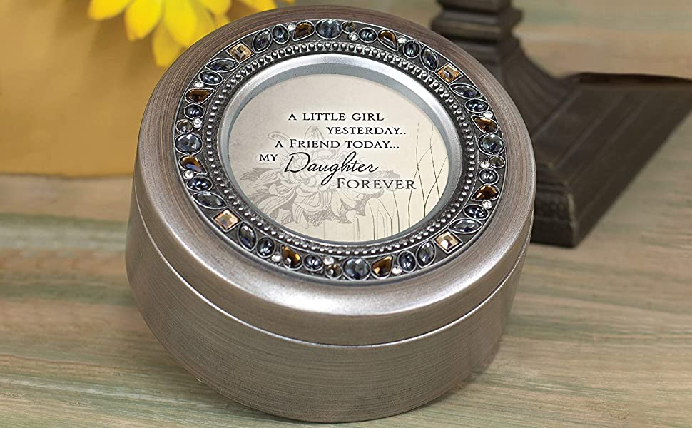 Cottage Garden A Baby Girl Silver Tone Bead Inlay Petite Music Box Plays You are My Sunshine