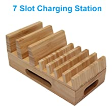 7 slot Bamboo Charging Stand