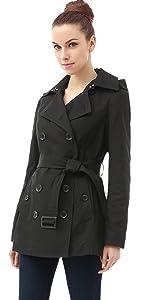 BGSD Women's Evelyn Waterproof Classic Hooded Short Trench Coat