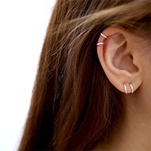 Basic Simple Helix Helix Hoop Earrings Classic Hoop Brow Body 16 mm Thin Small Silver Hoop Light Hoop Earrings Geometric Hoop