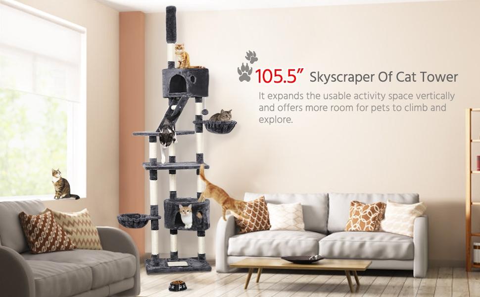 Yaheetech Árbol para Gatos Rascador Escalera 228-255 cm Altura ...
