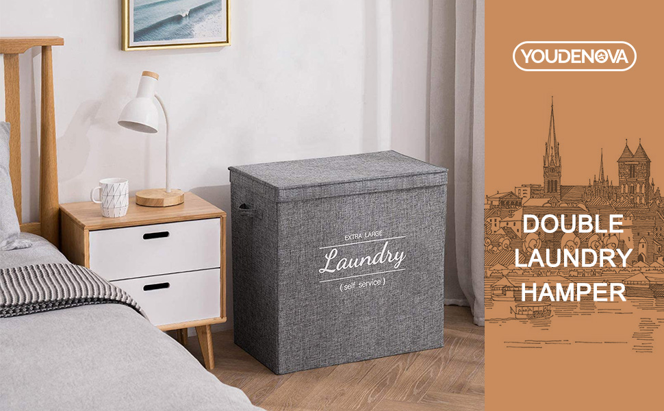 double laundry hamper basket with lid