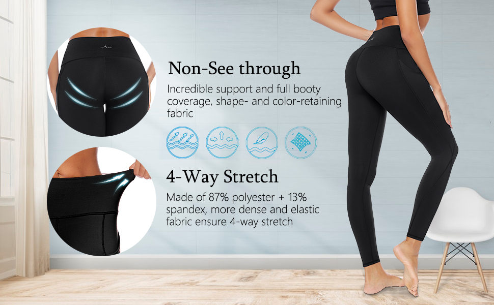 AUU Womens Yoga Leggings Stretch High Waist Side Pockets Workout Sports Running Pants