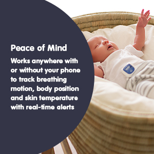 Position Smart SNUZA Pico 2 Baby Monitor Wearable Monitoring Breathing Temperature and Heart Rate.