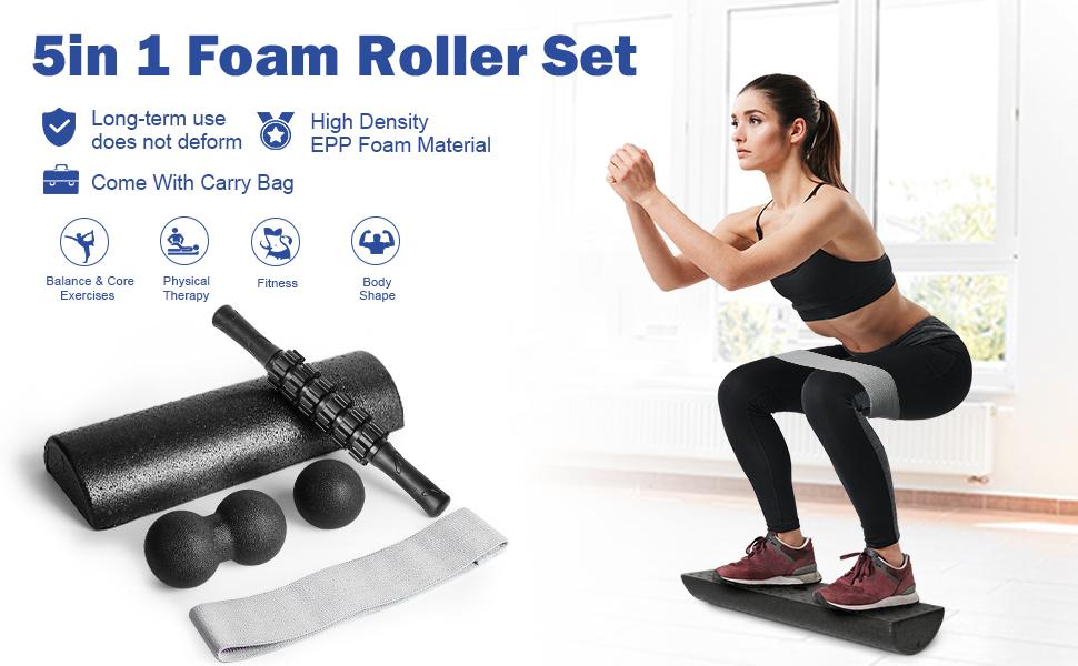 half round foam roller set