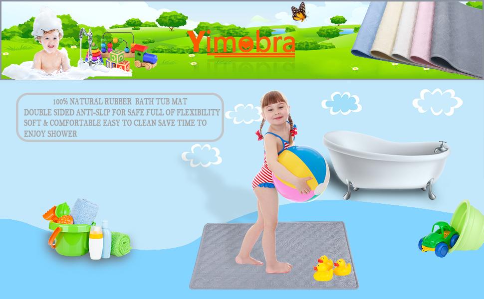 Anti Slip Bath Shower Mats in Natural Rubber-Non Slip Mat for Bathtub and Shower-Whale Green Yugee Cartoon Bath Mat for Tub Kids