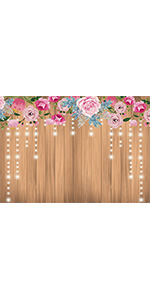 9x6 Floral Rustic Wooden Wall Photography Backdrop Decor Birthday Party Banner