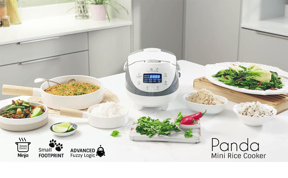 Yum Asia Panda Mini Rice Cooker With Ceramic Bowl And Advanced