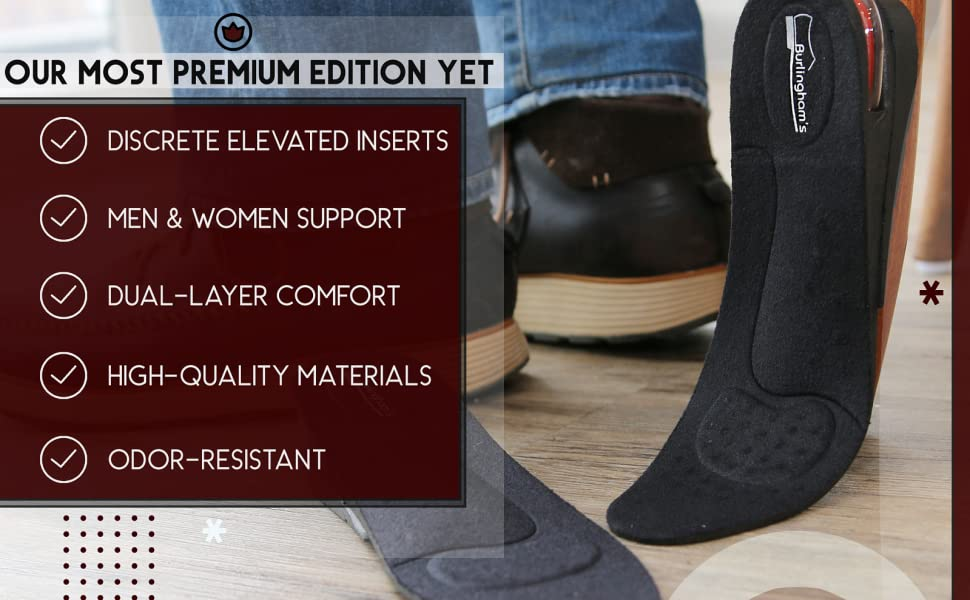 Burlingham's Shoe Lifts for Men and Women (2 Inch) Elevated, Invisible Cushioned Heel Inserts | Arch Support Elevator Insoles | Lifted, Supportive