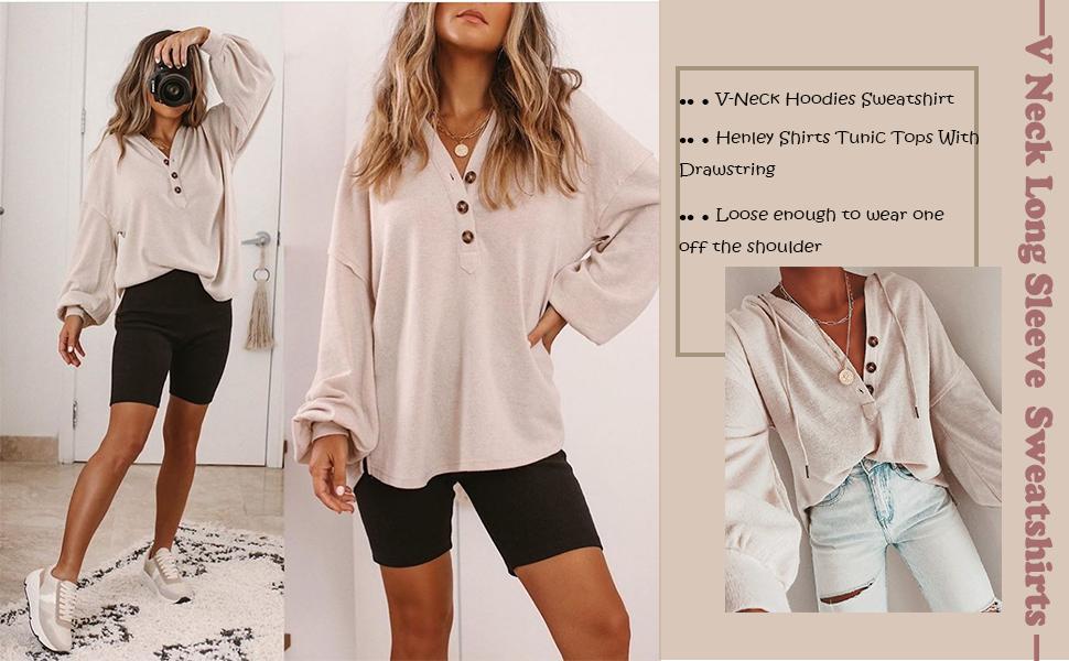 Women's V Neck Long Sleeve Button Down Sweatshirts Hoodies Hooded Knit Henley Shirts Tunic Tops