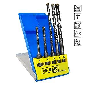 Foret de maçonnerie-Set Bosch SDS-Plus 5//6//8//10//12 plus 1 marteau perceuse 10 St.