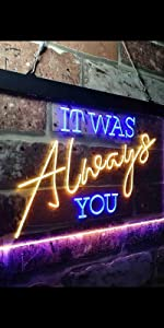 ADVPRO LED Neon sign light-ing Dual-color Love Lovers Valentines heart sweet It was always you