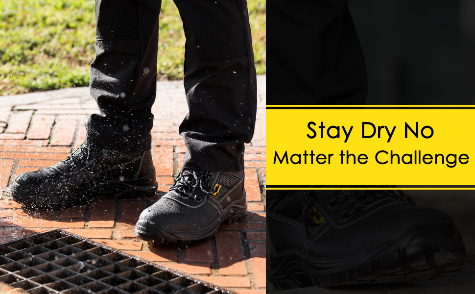 The Safety boot is completely waterproof, including the upper region