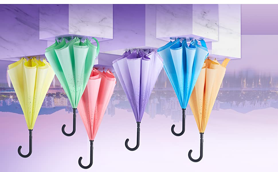 Reverse inverted colorful Stick rain gifts women men waterproof J hook handle umbrella