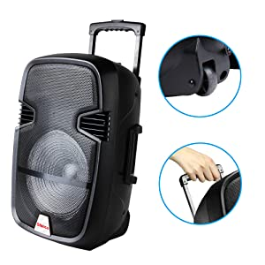 portable speaker telescoping handle wheel easy move