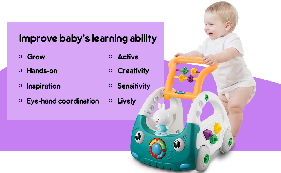 Rubber Wheels Push /& Pull Toys caterbee Sit to Stand Learning Walker,Beginnings Activity Walker with Musical and Light,Adjustable Speed
