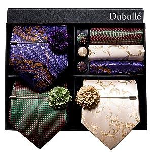 gold blue paisley tie set
