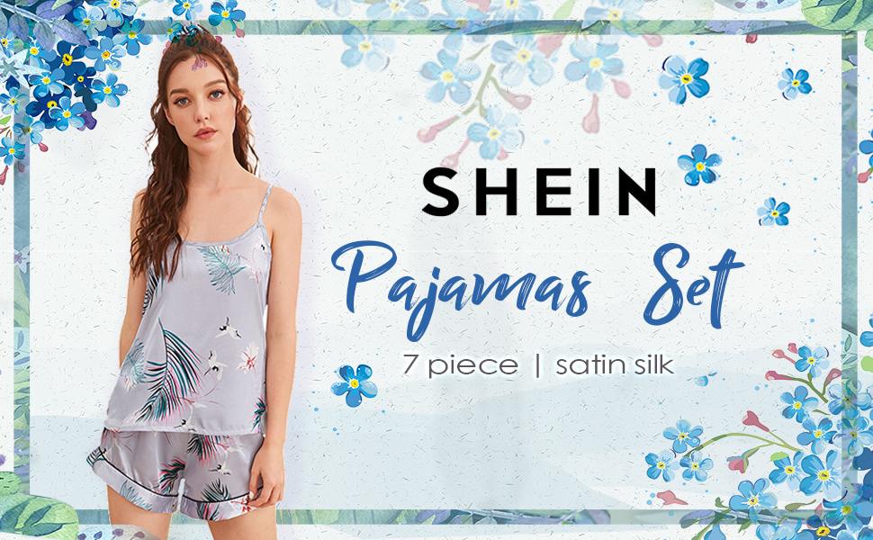 7pcs satin pajamas set