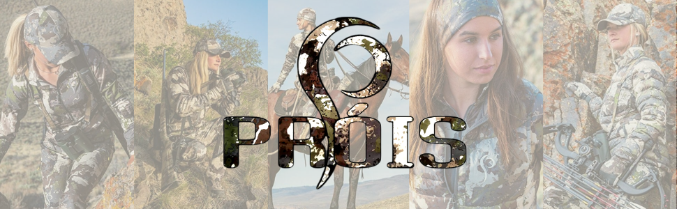 Prois logo with women wearing Prois Hunting apparel