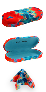 eyeglass case hard shell metal case microfiber cleaning cloth drawstring pouch glasses case