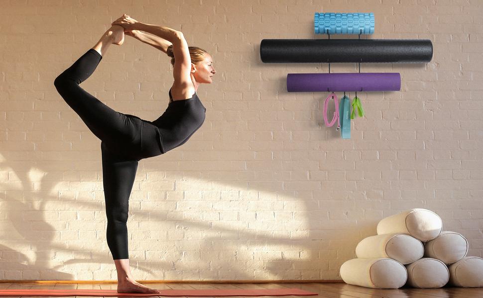 yoga mat foam roller black wall mount storage rack towel rack thin yoga mat metal shelving unit