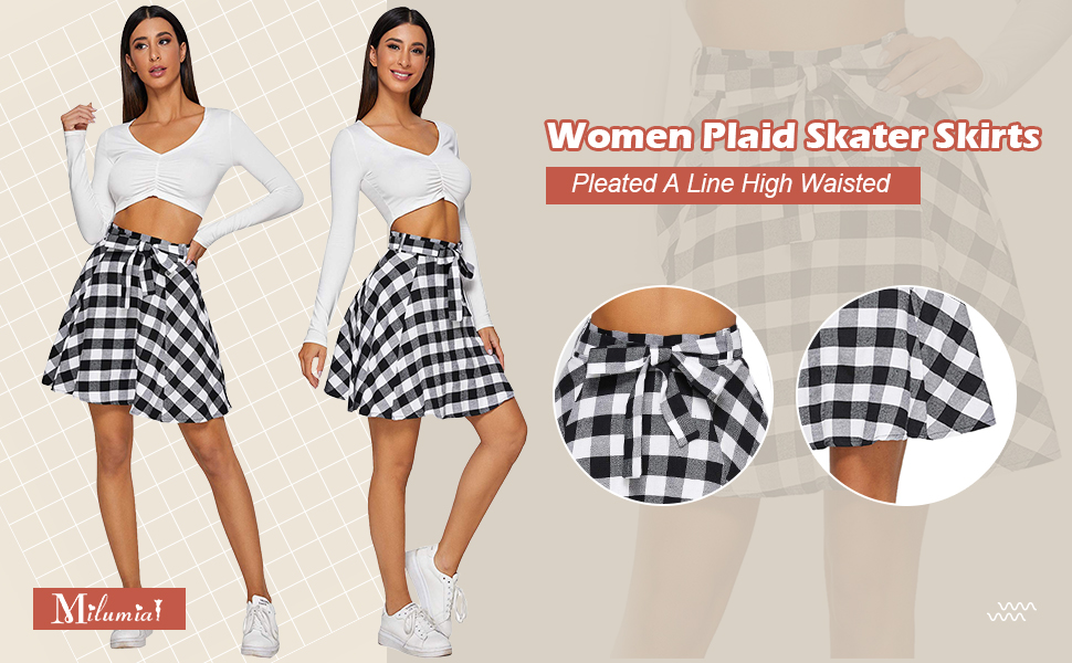 Milumia Women Plaid Skirts Casual Going Out Skirt