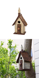 13.90''H Distressed Wooden Birdhouse