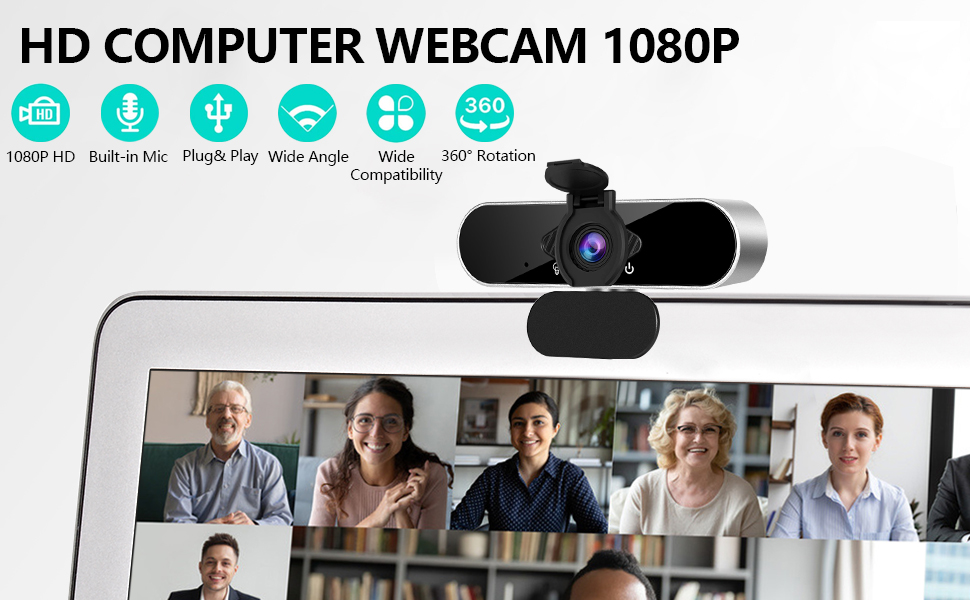 Flashandfocus.com 23dc6f7b-622d-49a0-ad08-0bcf4d920370.__CR0,0,970,600_PT0_SX970_V1___ Webcam with Microphone Computer Camera,1080P Webcam for Desktop, USB Plug and Play HD Web Camera with Privacy Cover for…